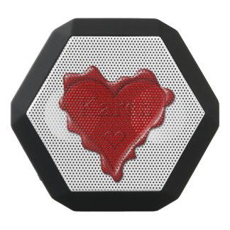 Karen. Red heart wax seal with name Karen Black Bluetooth Speaker
