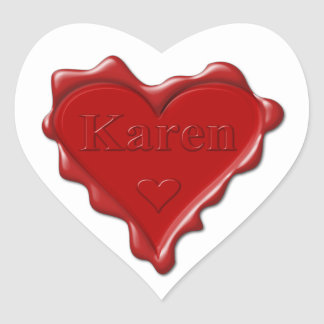 Karen. Red heart wax seal with name Karen Heart Sticker