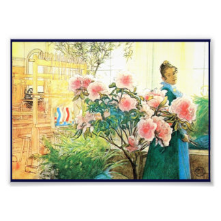 Karin with Pink Flowers and Her Loom Photographic Print