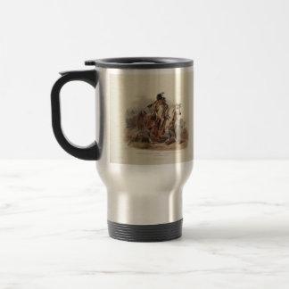 Karl Bodmer- A Blackfoot Indian on Horseback Coffee Mug