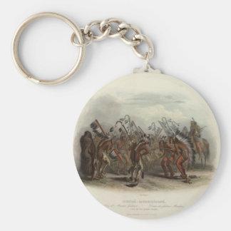 Karl Bodmer- Dance of the Mandan Indians Keychains