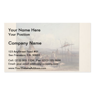 Karl Bodmer- Funeral Scaffold of a Sioux Chief Business Card Template