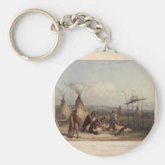 Karl Bodmer- Funeral Scaffold of a Sioux Chief Keychain