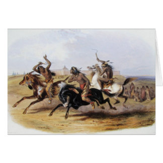 Karl Bodmer - Horse Racing of the Sioux Greeting Card