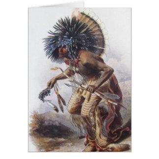 Karl Bodmer - Moennitarri Warrior doing Dog Dance Greeting Card