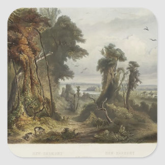 Karl Bodmer- New Harmony on the Wabash Square Stickers