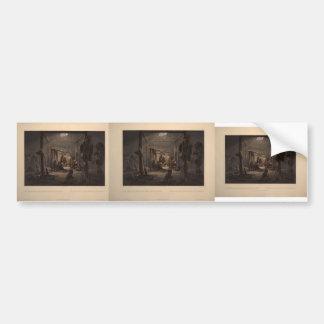 Karl Bodmer- The Interior of a Hut of Mandan Chief Bumper Sticker