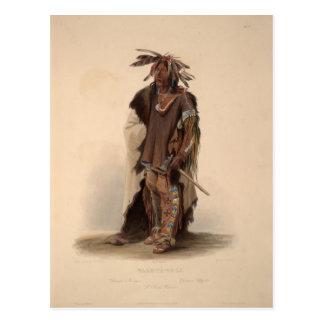 Karl Bodmer- Wahk-Ta-Ge-Li, a Sioux Warrior Postcard