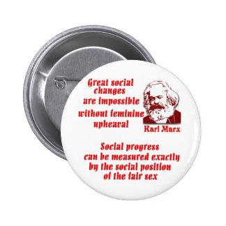 Karl Marx on Women 6 Cm Round Badge