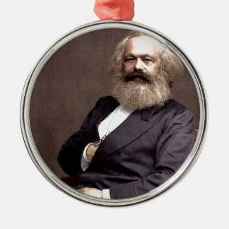 Karl Marx Silver-Colored Round Decoration
