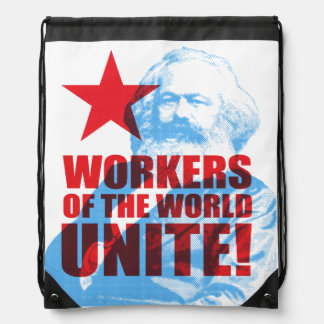 Karl Marx Workers of the World Unite! Drawstring Bag