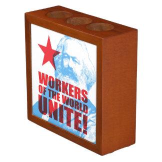 Karl Marx Workers of the World Unite! Portrait Desk Organiser