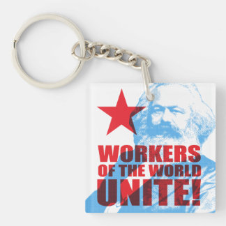 Karl Marx Workers of the World Unite! Portrait Key Ring