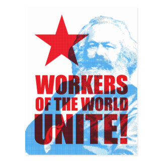 Karl Marx Workers of the World Unite! Portrait Postcard