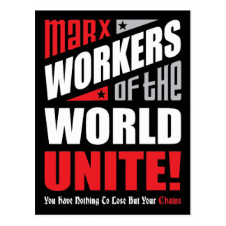 Karl Marx Workers of the World Unite Typographic Postcard