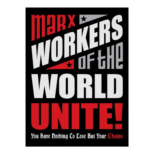 Karl Marx Workers of the World Unite Typographic