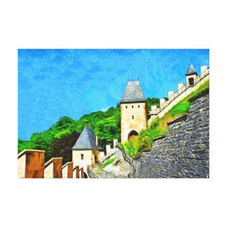 Karlstejn. View of the Gothic castle. Canvas Print