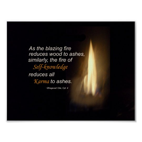 Karma Blazing Fire Self-knowledge Quote Poster