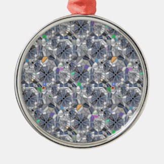Karma Wheels Stained Glass Style Silver-Colored Round Decoration