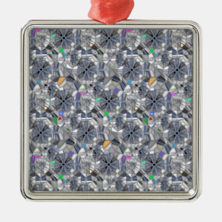 Karma Wheels Stained Glass Style Silver-Colored Square Decoration