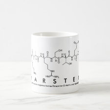 Mug featuring the name Karsten spelled out in the single letter amino acid code