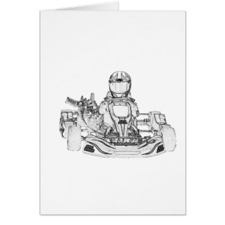 Kart Racer Pencil Sketch Card