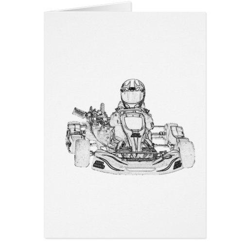 Kart Racer Pencil Sketch Cards