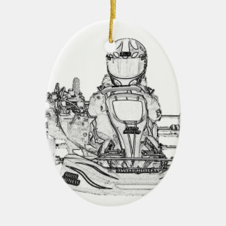 Kart Racer Pencil Sketch Ceramic Oval Decoration