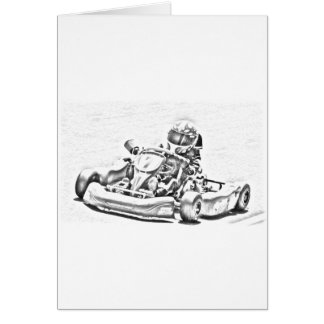 Kart Racing B/W Shading Greeting Card