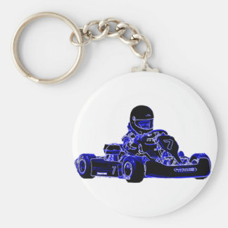 Kart Racing Blue and White Basic Round Button Key Ring