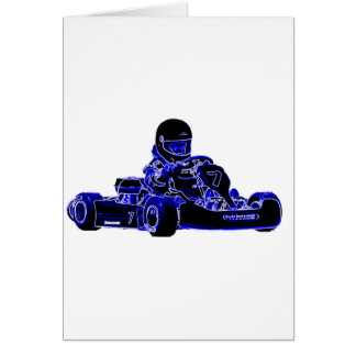 Kart Racing Blue and White Card