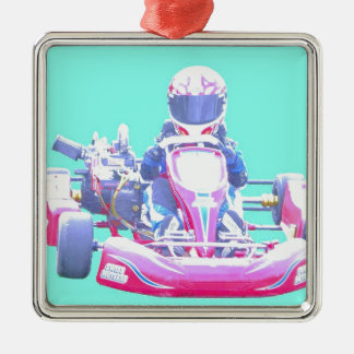 Kart Racing-Blue Background Silver-Colored Square Decoration