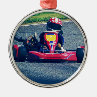 Kart Racing Silver-Colored Round Decoration