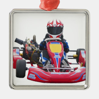 Kart Racing Silver-Colored Square Decoration
