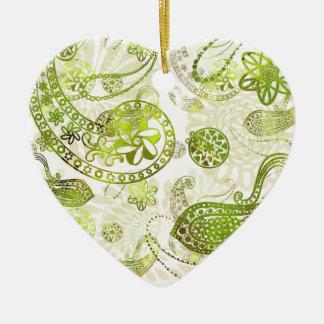 Kashmir \mysteries - Lime Green Paisley Ceramic Heart Decoration