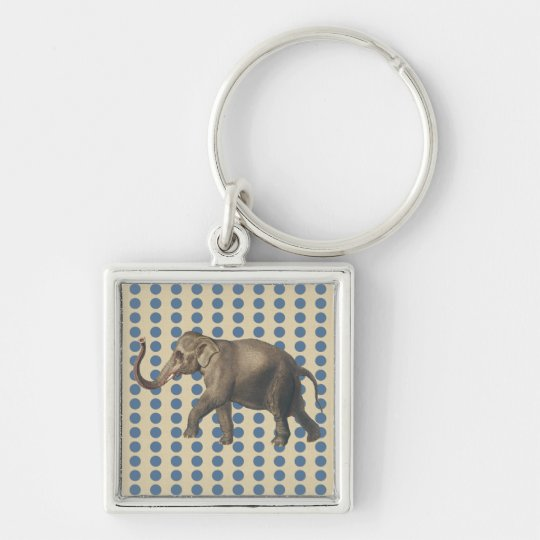 Kashmir Spice Moods Dots with Elephant Silver-Colored Square Key Ring
