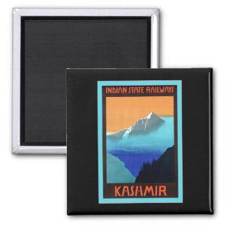 Kashmir ~ Vintage Travel Square Magnet