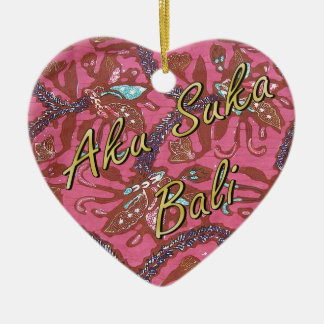 Kasia Batik Heart Ceramic Heart Decoration