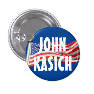 Kasich Running for President American Flag Button