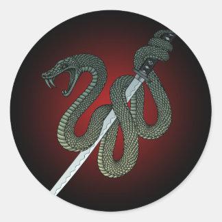 Katana Snake 1 Round Sticker