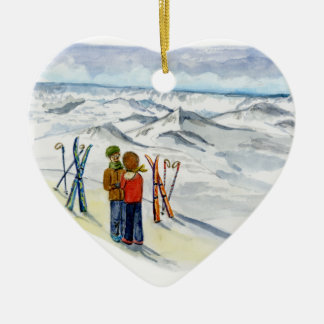 kate and jamie engagement heart christmas ornament