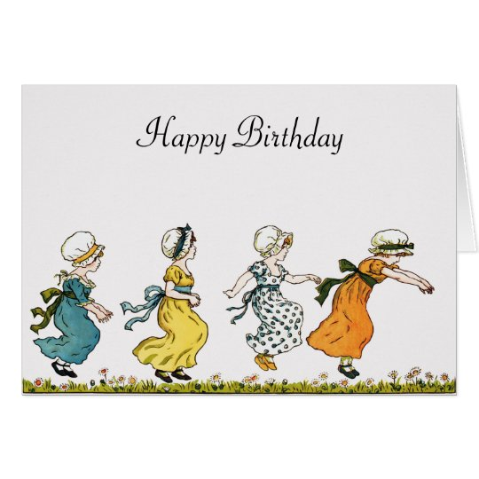 Kate Greenaway jumping girls vintage art birthday Card