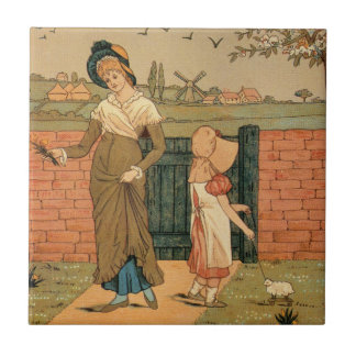 Kate Greenaway, Victorian drawing mother and child Small Square Tile