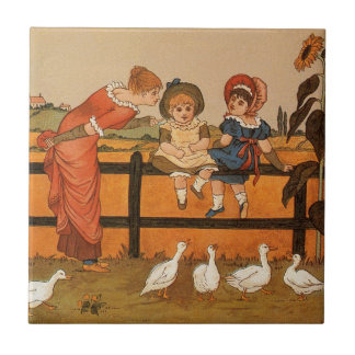 Kate Greenaway, Victorian woman children ducks Small Square Tile