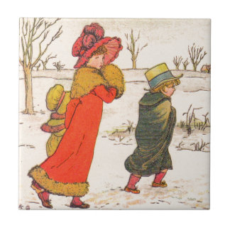 Kate Greenaway winter scene Small Square Tile