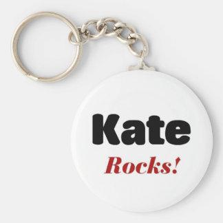 Kate rocks basic round button key ring