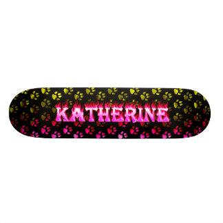 Katherine skateboard pink fire and flames design.