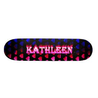 Kathleen skateboard pink fire and flames design