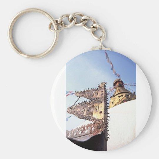 Kathmandu Nepal Swayambunath Buddhist Temple Basic Round Button Key Ring