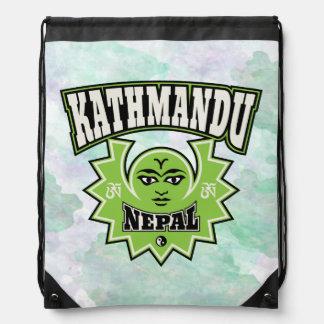 Kathmandu Nepalese Sun and Moon Emblem Drawstring Bags